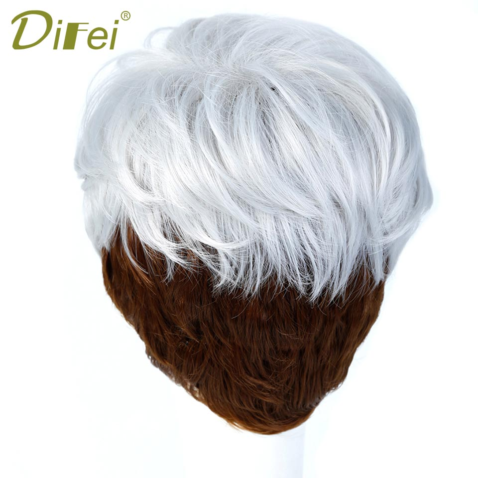DIFEI Short Straight Wigs for Women Synthetic Silver Brown Ombre Hair with Heat Resistant Cosplay Wig