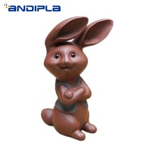 Authentic Yixing Purple Clay Tea Pet Lovely Lucky Rabbit Figurine Desktop Decoration Tea Accessories Home Furnishings New Crafts