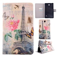 Ultra Slim Cartoon Print Stand Case Card Holder Buckle Protective Cover For Samsung Galaxy Tab 4