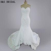 Real Model 2015 Wedding Gown Mermaid Elegant Tulle Long Train Lace Edge Bridal Wedding Dresses