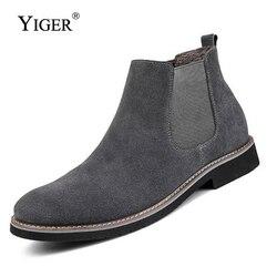 YIGER Новый Для мужчин ботинки челси ботильоны модные Для мужчин мужской бренд качество кожи Слипоны мотоцикл мужские теплые Бесплатная дост...