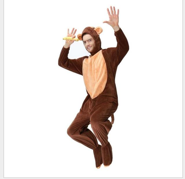 Adult Monkey Costume For Men With Tail Cute Warm Thick Cosplay CostumesFleece Animal Clothes Disfraces Adults  sc 1 st  AliExpress.com & Adult Monkey Costume For Men With Tail Cute Warm Thick Cosplay ...