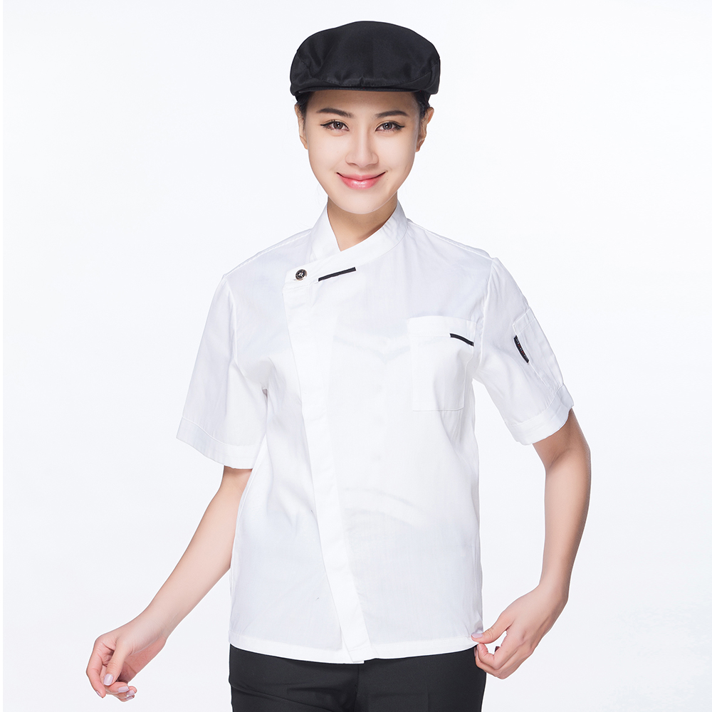 Hight Quality White Short-sleeved Chef Jacket Restaurant Hotel Work Wear Overalls Kitchen Home Unisex Uniform Coat Suits