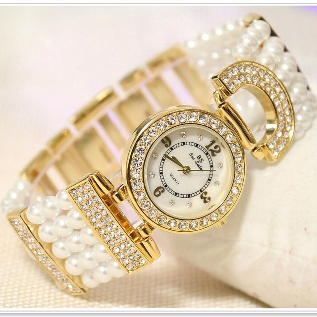 2018 Luxury Elegant Rhinestone Women Watches Lady Pearl Dress Watch Female Big D