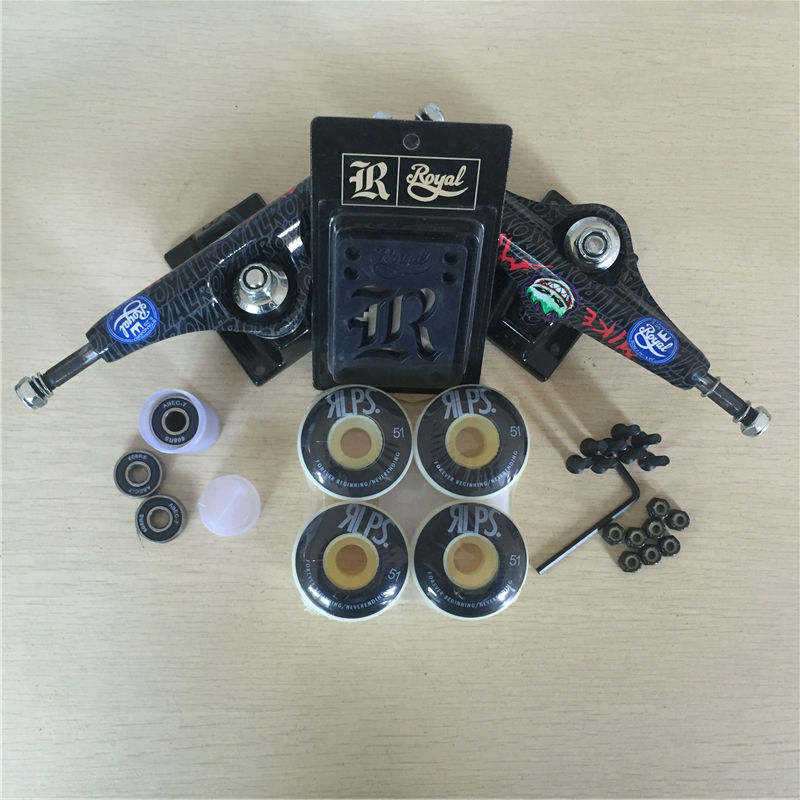Skateboard Parts ROYAL 5.25 Skate Trucks mixed 51&52mm skate Wheels & ABEC-7 Bearings & Royal Riser Pads & A Hardware Set 2016 free shipping skateboard royal aluminum 5 25 skate trucks and diamond pu wheels element abec 7 bearings skateboarding