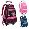 Водонепроницаемый нейлоновый рюкзак для девочек на колесиках  милый розовый детский рюкзак  детский дорожный рюкзак высокого качества