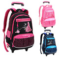 Waterproof nylon Girls Trolley Book SchoolBags Lovely Pink Children Backpacks Kids Travel Luggage High Quality Mochila Infantil