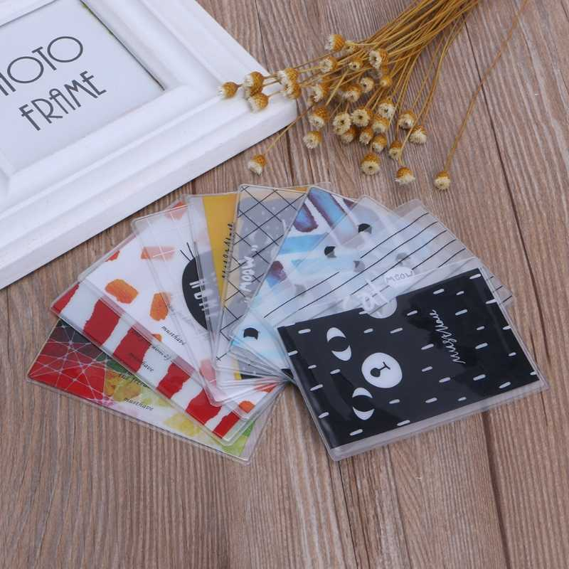 2020 New Brief Cartoon Style Transparent Double Layer PVC Card Cover Bus Bank Id Card Case Holder randomly color