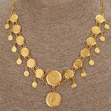 45cm  Gold Color Overlay Islam Muslim Coin Necklaces Money Sign Chain Great Money Maker Gift women jewelry men necklace