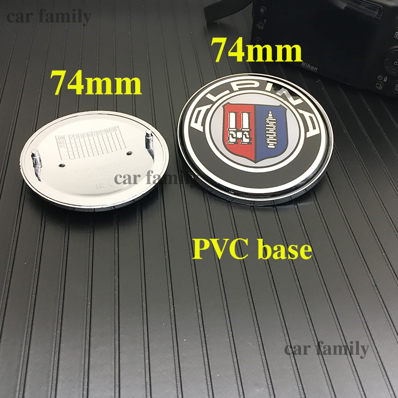 cheapest 2pcs Chrome Pvc Base 82mm 74mm 78mm 51148132375 Front rear Emblem Badge Car Hood Logo for E46 E30 E39 E34 e60 E36 E38 M3 M5 M6