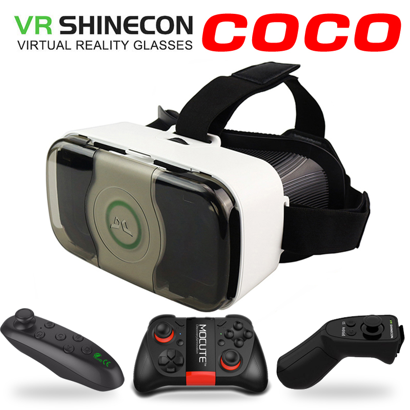 VR Shinecon COCO Headset 3D Virtual Reality Glasses Googles Front Cover Helmet box for 4.5-6 Mobile Phone with VR Controller