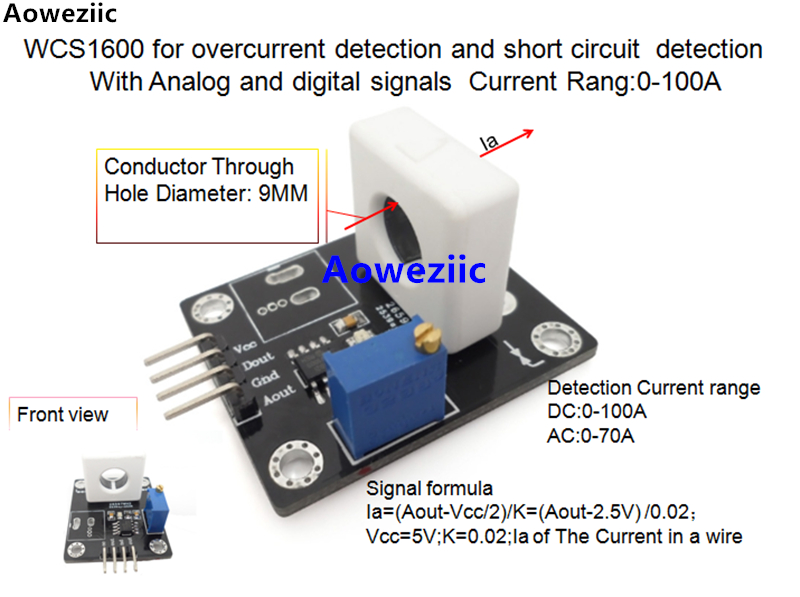 WCS1600 for overcurrent detection and short circuit detection With Analog and digital signals Current Rang:0-100A  0.02V/1AWCS1600 for overcurrent detection and short circuit detection With Analog and digital signals Current Rang:0-100A  0.02V/1A