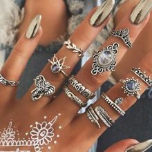 12 Pcs/Set Boho Carving Flowers Leaves Water Drop Stars Crystals Jewelry Joint Ring Set Of Lady Party Party Combines Silver Ring ferris file wax ring tubes men s ring wax tube ring model carving tools jewelry engraver carving material preferred