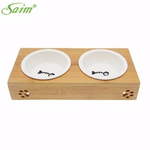 Creative Ceramics Double Bowls Pet Dog Cat Puppy Food Water Feeder Feeding Dish Wood Pet Feeding Ornaments Accessories