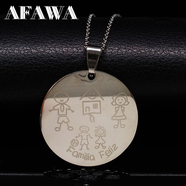 Mama Stainless Steel Family Necklaces For Women Kid Pendants Girl Mum Necklace J