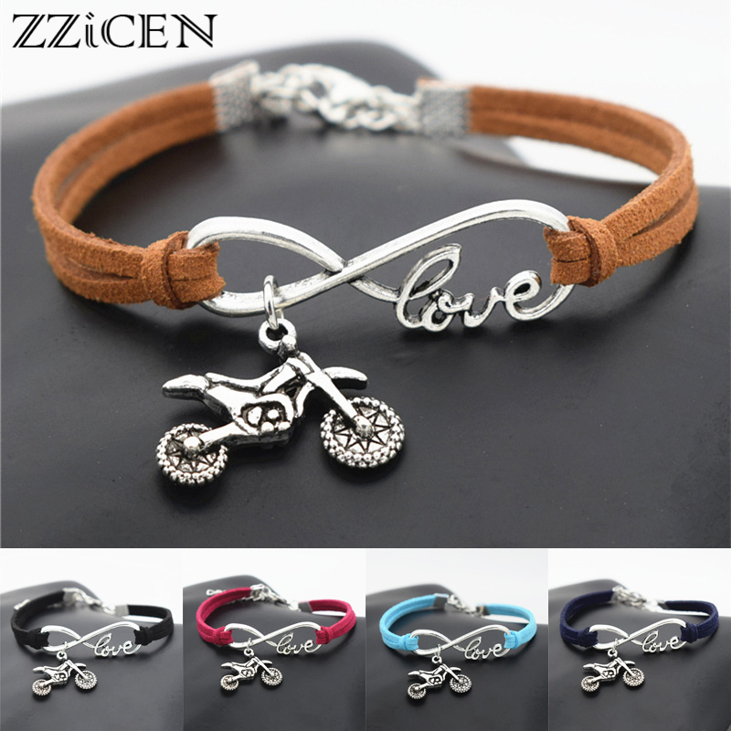 New Punk Sports Jewelry Antique Motocross Flying Fast Motorcycle Dirt Bike Charms Infinity Love Leather Bracelets Jewelry|Charm Bracelets| - AliExpress