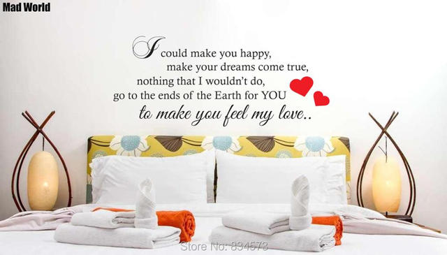 Mad World MAKE YOU FEEL MY LOVE Lyrics Wall Art Stickers Wall Decal Home DIY