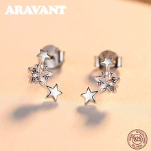 925 Sterling Silver Jewelry Star CZ Zirconia Gold Earrings For Women Fashion