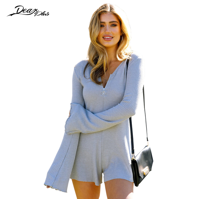 4730392229 Women Elegant V Neck Flare Sleeve Autumn Playsuit 2017 Long Sleeve Slim  Casual Rompers Solid Color Cute Jumpsuit Overall