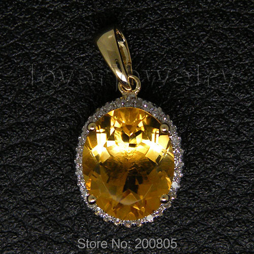Citrine Pendant Diamond Gold Vintage Yellow Oval New 14K E0003 Engagement Solid-14kt