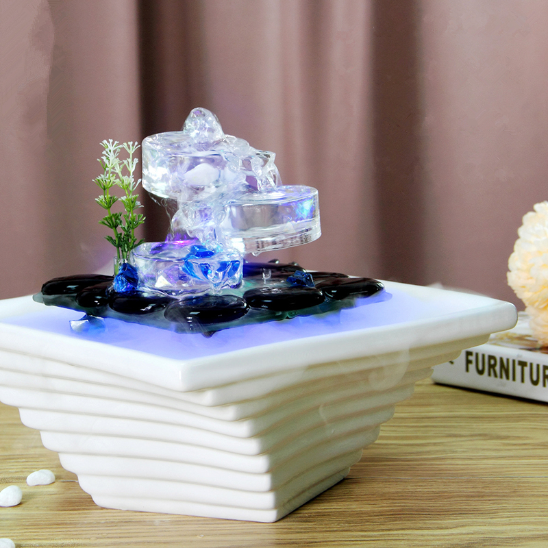 Creative Ceramic Glass Water Fountain Indoor Desktop Air Humidifier Fengshui Ornaments Home Decoration