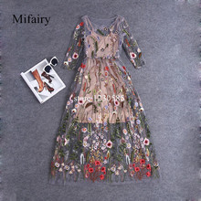 Runway Dresses 2016 Gorgeous Half Sleeves Sheer Mesh Embroidery  Long Dresses Bohemian Brand Style Vestidos De Festa  61461