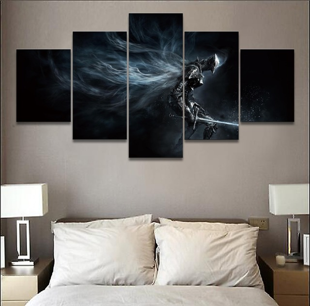 Canvas Pictures Home Decor Wall Art Modular Poster 5 Pieces Game Dark Souls III Boreal Outrider Knight Paintings For Living Room 2