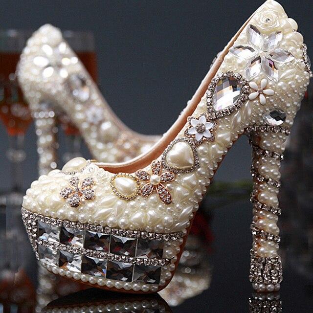 Alto Damigella Da Sposa Romantico Perla Tacco Scarpe D'onore Cm 14 Owqt4qH