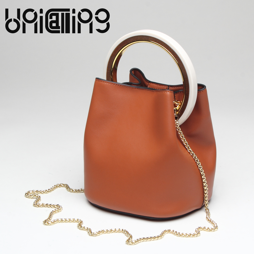 UniCalling Fashion bags for women 2017 solid color Chain large ring Bucket Bag All-match Split Leather crossbody bags for women unicalling fashion brand split leather crocodile women bag retro top grade bucket bag chain mini crossbody bags for women