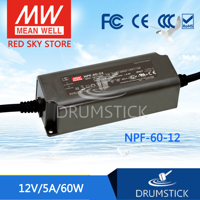 MEAN WELL NPF-60-12 12V 5A meanwell NPF-60 12V 60W Single Output LED Switching Power Supply genuine mean well irm 60 12st 12v 5a meanwell irm 60 12v 60w screw terminal style