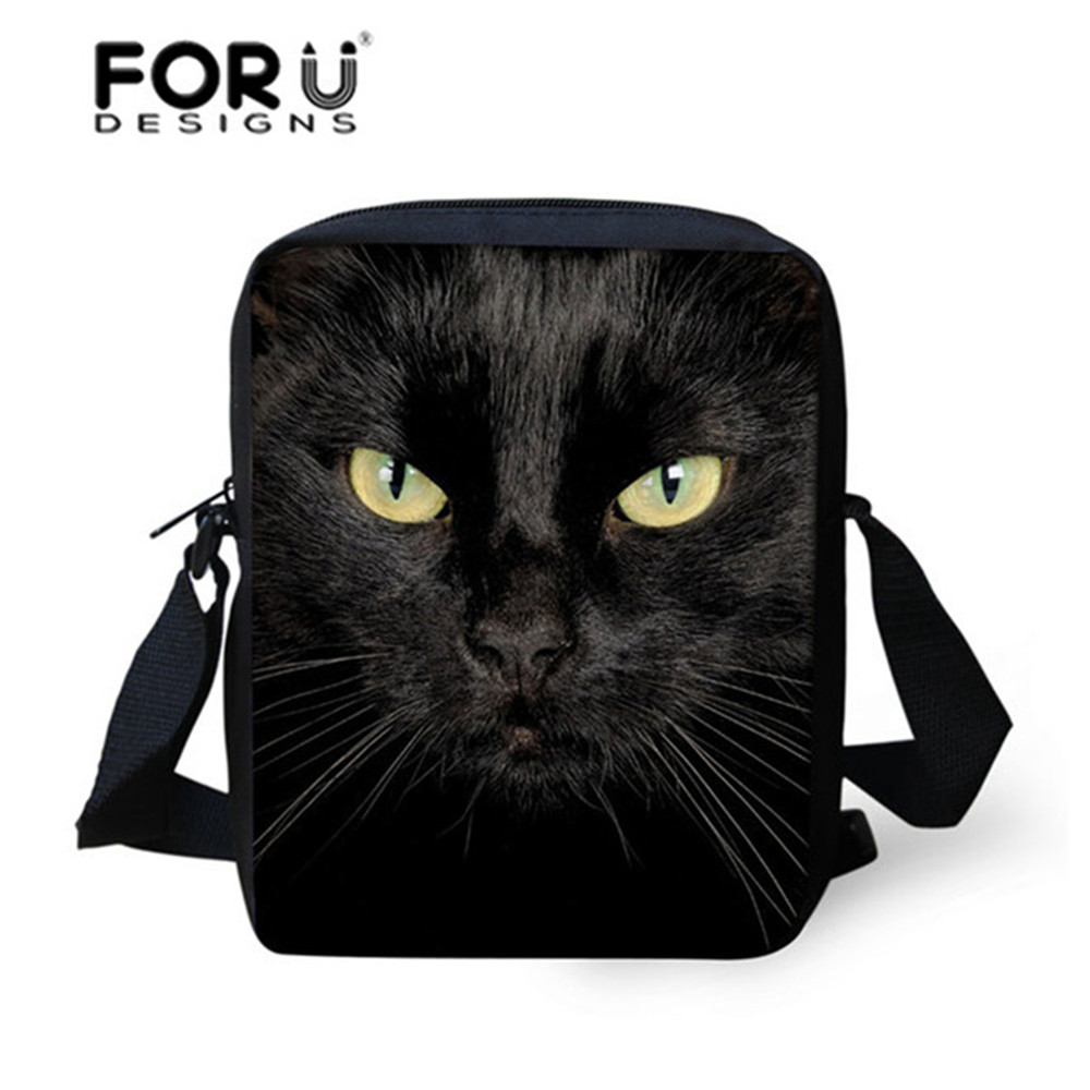 FORUDESIGNS Black Cat Messenger Bags For Girls Brand Designer Crossbody Bags Women Small Kids Shoulder Bag Children Bolsos Mujer