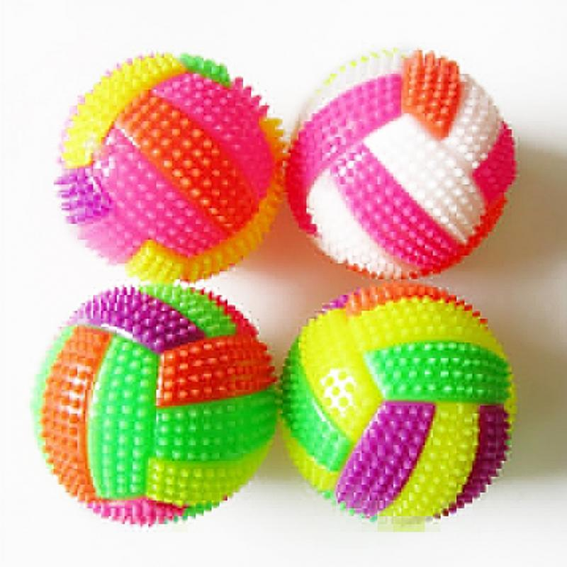 1PCS LED BiBi Sound Volleyball Flashing Light Up Color Changing Bouncing Hedgehog Ball Kids Toys For Baby Kid 6.5cm