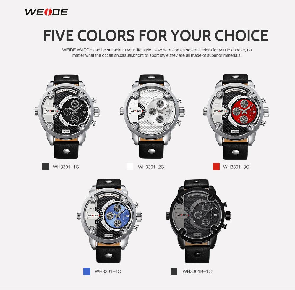 d9533f0eb7ee WEIDE reloj automático de los hombres de cuero de deporte reloj ...