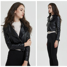 цена на 2019 New Arrival Black Lapel Oblique Zipper Short Pu Jacket Girl Punk Style Women PU Leather Jacket Coat Casual Crop Tops P-D1