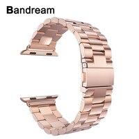 Ремешок из нержавеющей стали для часов iWatch Apple Watch 38 мм 40 мм 42 мм 44 мм серия 4 3 2 1 браслет со звеньями розовое золото