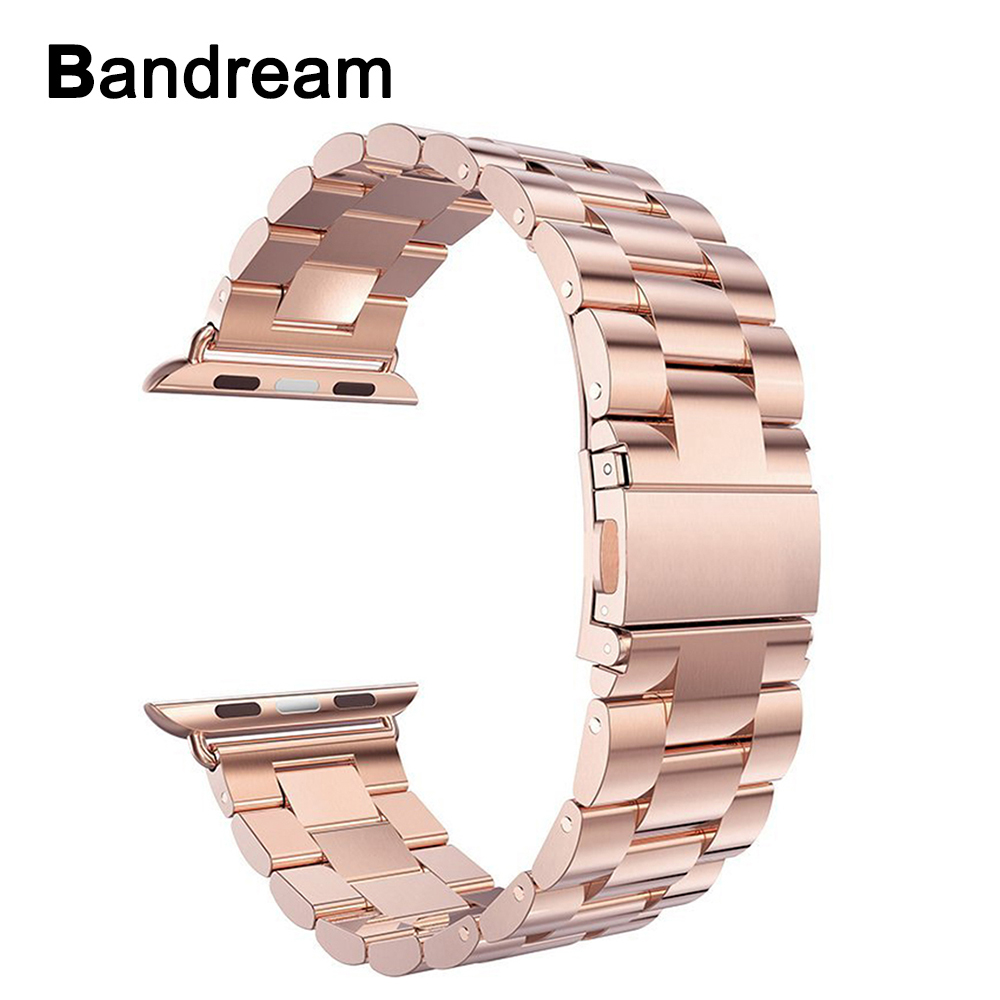 Stainless Steel Watchband for iWatch <font><b>Apple</b></font> <font><b>Watch</b></font> 38mm 40mm <font><b>42mm</b></font> 44mm Series 5 4 <font><b>3</b></font> 2 1 Band Wrist Strap Link Bracelet Rose Gold image