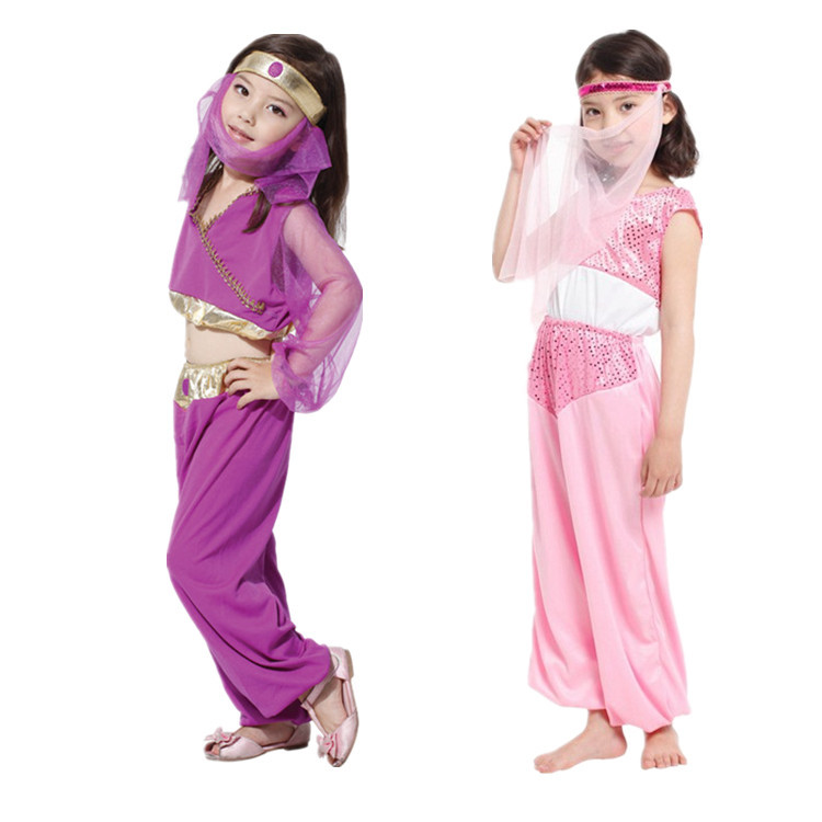 Cute Arab Princess Children Cosplay Hallowean Masquerade Party Girl Costume for Kids Girl Belly Dance Stage Show Suit