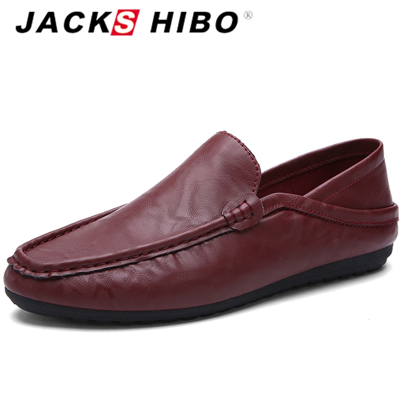 JACKSHIBO Fashion Men Boat Shoes Loafers Slip on Mens Flats Shoes PU Leather Moccasin Chaussure Homme Slipony Driving Shoes