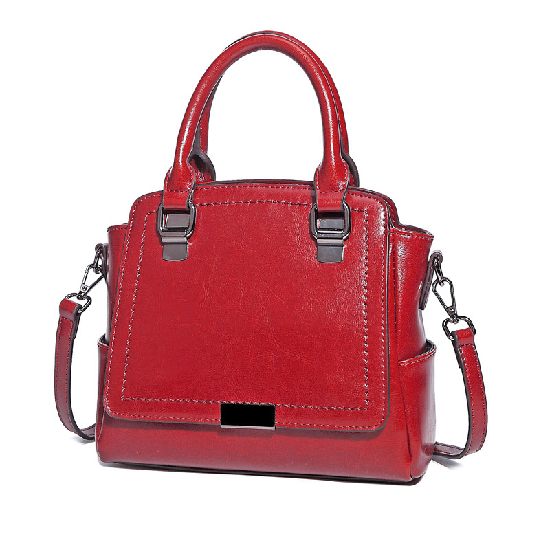 2017 New Genuine Leather Female Top-handle Handbag Wax Oil Cowhide Women Satchel Shoulder Crossbody Multifunction Bag Pr08325 genuine leather studded satchel bag women s 2016 saffiano cute small metal rivet trapeze shoulder crossbody bag handbag