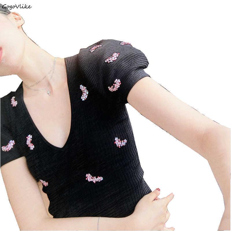 Perles top en tricot t-shirts col en V conception courte 2019 nouvelles femmes noir t-shirts t-shirt décontracté t-shirt d'été manches bouffantes LT769S50