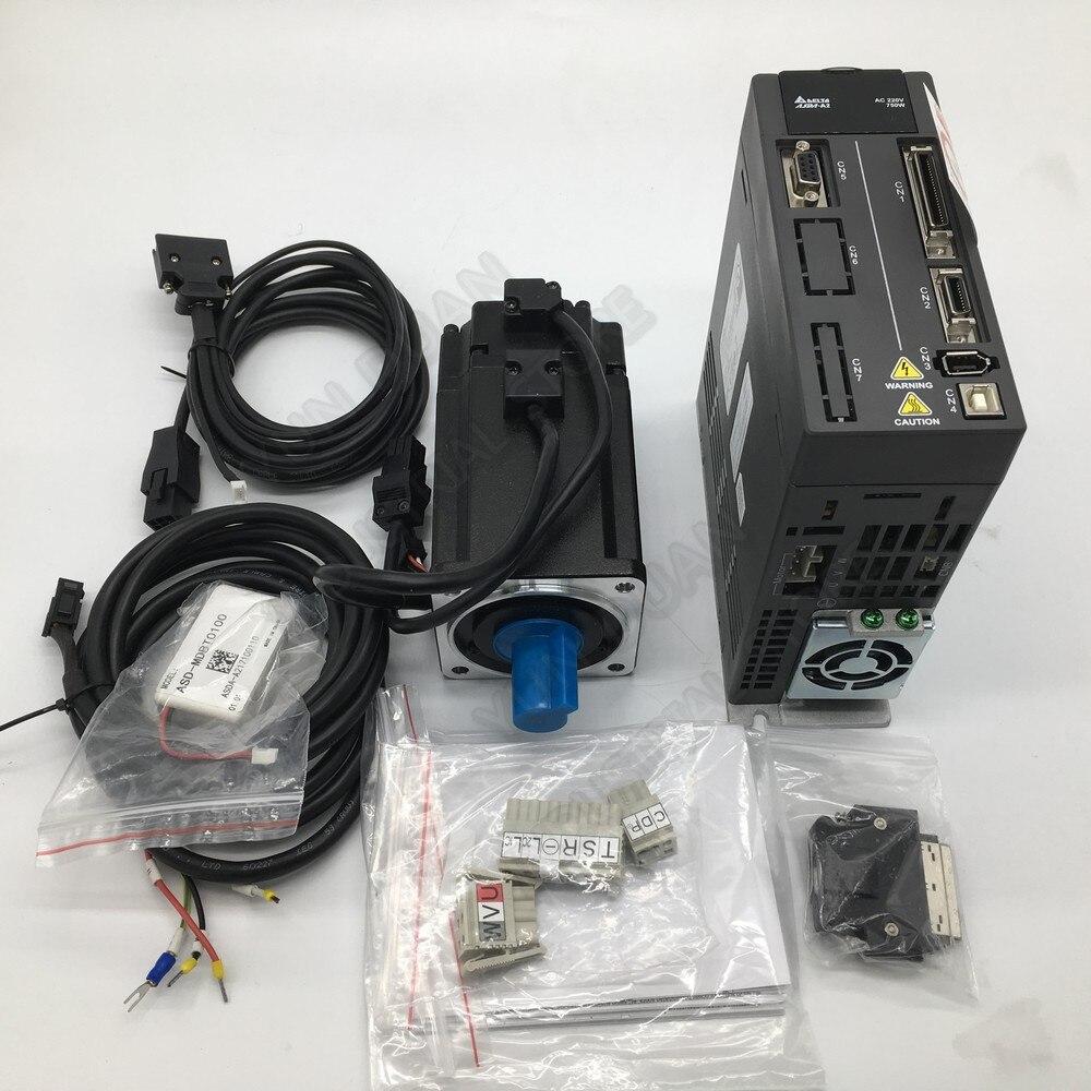 Delta A2 750W Absolute value encoder motor 220V 2.39Nm 3000rpm 80MM ASD-A2-0721-L ECMA-CA0807RS AC servo drive & 3m cable kits