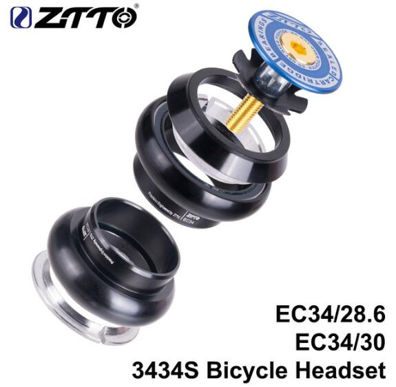 ZTTO 3434S MTB Bike Road Bicycle Headset 34mm EC34 CNC 1 1 8 28 6 Straight Tube Fork Internal 34 Conventional Threadless Headset in Bicycle Headset from Sports Entertainment