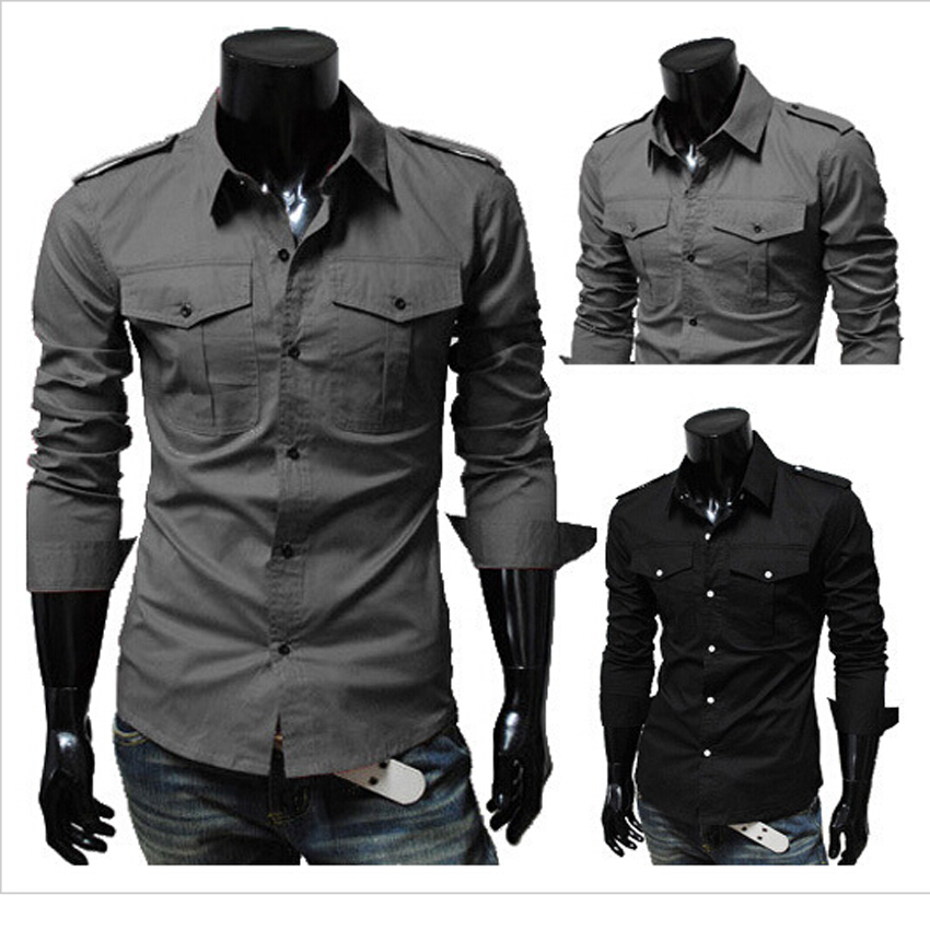 2015 new men 39 s military style shirt style men 39 s slim