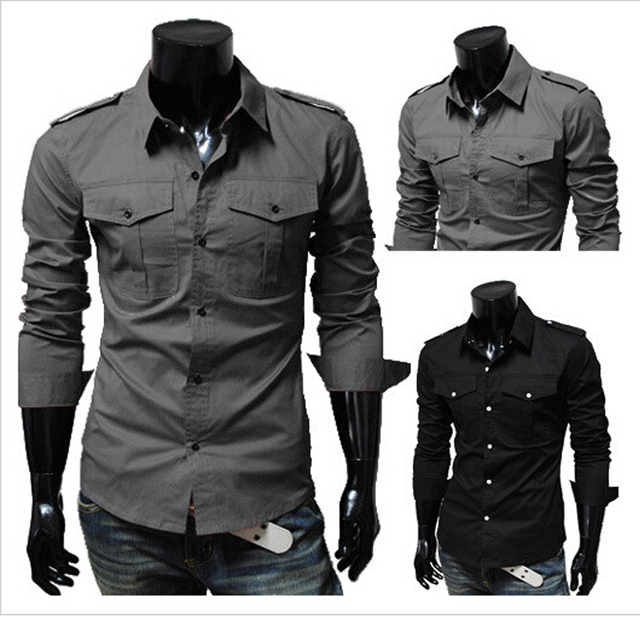 2015 new men's military style shirt style men's slim fashion epaulets, long sleeved shirts for men