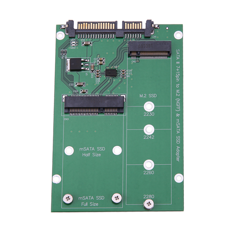 M.2 NGFF/mSATA SSD to SATA III Converter Adapter Card Build in Mini PCI-e 52pin NGFF B Key Male Connector for Notebook PC SSD