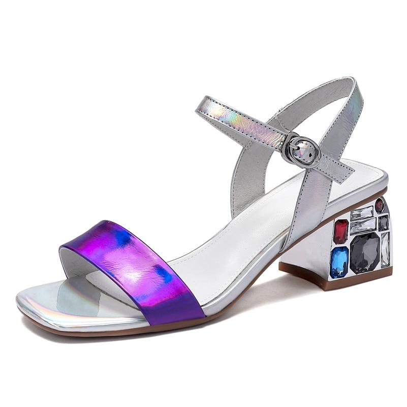 Genuino Mezclan Dama Zapatos Fedonas Las Boda Mujeres Moda Oficina Mujer plata Verano Tacón Azul De Cuero Colores Básicos Hebilla Alto Sandalias EqwvYq0