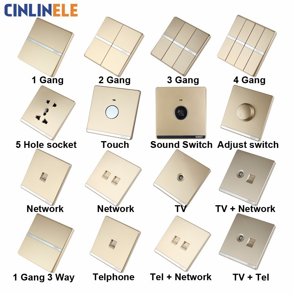 Luxury Wall Switch 1 Gang 3 Way Gold Brief Art Weave Light Ac Pole 110250v 10a No Border Design 86mm In Switches From Lights Lighting On