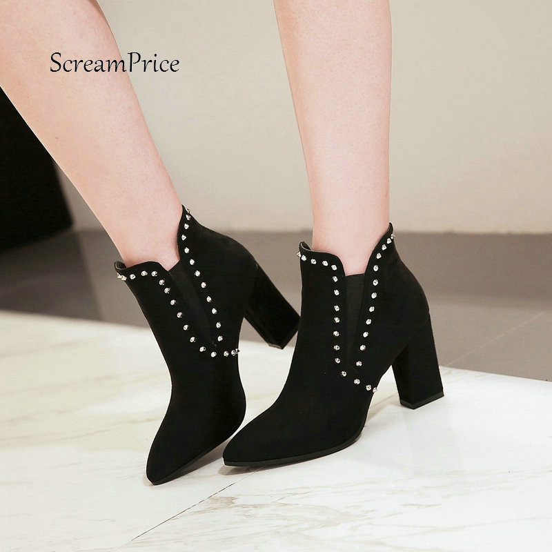 Woman Square High Heel River Faux Suede Ankle Boots Fashion Pointed Toe Dress Ladies Boots Black Brown