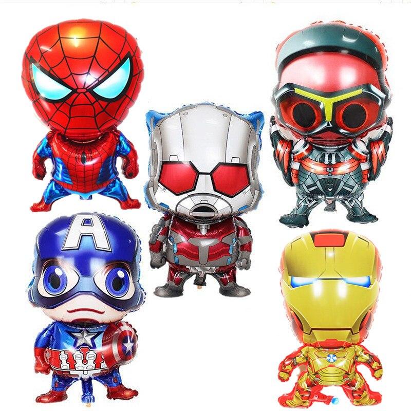 1pc Cartoon Captain America Foil Balloon Iron Man Spiderman Helium Balloons Birthday Party Decorations Kids Baby Shower Toys