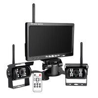 Car Rear View Backup 2 Camera Kit Wireless 7 TFT LCD Full HD Monitor Reversing Parking